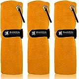 極細繊維 ゴルフタオルHandyPicks(40 X 40 cm) カラビナクリップ付き フックとループファスナー 便利 ゴルフ クリーニング タオル 3枚セット
