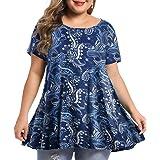 BELAROI Women's Short Sleeve Tunic Tops Plus Size T Shirt Blouses S-3X