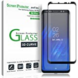 amFilm Galaxy S8 Plus Screen Protector Glass, Full Cover (3D Curved) Tempered Glass Screen Protector with Dot Matrix for Sams