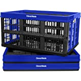 CleverMade 45L Collapsible Storage Bins, Plastic Stackable Grated Wall Utility Containers, CleverCrates Baskets, Royal Blue,