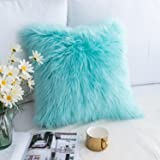 Foindtower Mongolian Plush Faux Fur Square Decorative Throw Pillow Case Cushion Cover New Luxury Series Merino Style for Livi
