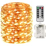 LightsEtc 200 Fairy String Lights Battery Operated Waterproof Twinkle Led String Lights Remote Control Timer 8 Modes 66ft Cop