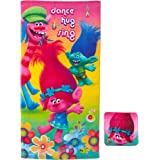 "Franco Towel with Washcloth Set, HA0268, Cotton, Trolls, 25"" x 50"""