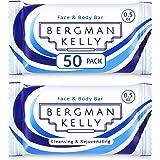 BERGMAN KELLY Travel Soap Bars, Hotel Size Bulk Toiletries (0.5 Oz, 50 Pack); Mini Individual Wrap Soap in Travel Sizes for A