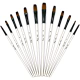 YOUSHARES 12 Pcs Flat Art Paint Brush Set, Professional Paintbrushes Nylon Hair Artist for Watercolor, Oil, Acrylic Paint/Cra