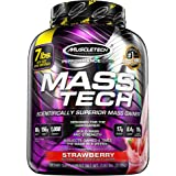 MuscleTech Mass Tech Mass Gainer Protein Powder, Build Muscle Size & Strength with High-Density Clean Calories, Strawberry, 7