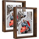 WIFTREY 5x7 Rustic Picture Frames Set of 2, Double Glass Side Floating Photo Frame for Table Top Wall Hanging, Displays Photo