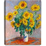DecorArts - Monet Sunflowers Claude Monet Art Reproduction. Giclee Canvas Prints Wall Art for Home Decor 20x16