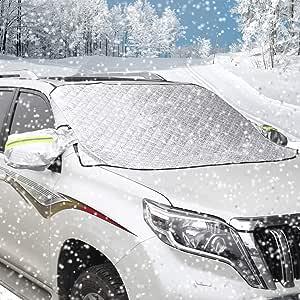 AUTSCA 凍結防止シート SUV 雪対策 車用 カーフロントカバー 車サンシェード 四季用 凍結防止 雪対策 遮光 落葉対策 防水材料 厚手 一年間品質保証あり M&L (L (192*123cm))