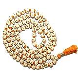 IndianStore4All White Tulsi Japa Mala 108+1 8mm Hare Rama Hare Krishna Beads