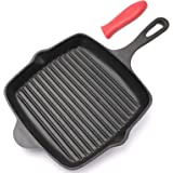 Lawei Cast Iron Square Grill Pan - 10 Inch Pre-Seasoned Skillet Pan with Handle Cover Stove Top Griddle Pan for for Grilling,