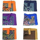 GOADAFOO NEW Men's Pocket Squares 12.6In Large Soft Floral Dots Pocket Square For Men Handkerchiefs Set (6Packs)