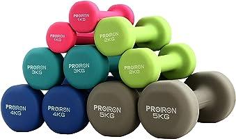 PROIRON 哑铃 2个套装 1千克/2千克/3千克/4千克/5千克/8千克/10千克 哑铃套装 软涂层 肌肉训练 锻炼 塑身
