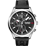 HUGO by Hugo Boss Men's #CHASE Stainless Steel Quartz Watch with Leather Strap, Black, 22 (Model: 1530161)