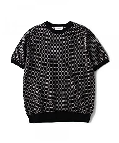 Short Sleeve Jacquard Crewneck Sweater 1118-136-0218: Navy