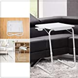 Foldable Table Adjustable Tray Portable Folding Laptop Desk Removable Cup Holder (White)