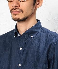 Linen Ramie 7/10 Sleeve Buttondown Shirt 3216-166-1073: Navy