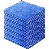 DABLOCKS マイクロファイバークロス ふきん 万能お掃除タオル 30×30cm、12枚セット(ブルー)