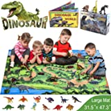 GINMIC Dinosaur Toys, 21 PCS Realistic Dinosaur Figures with Large 31.5 x 47.3 Inch Activity Play Mat & Trees, Including T-Re