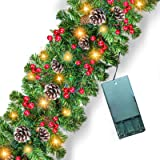 Prelit Christmas Garland Decoration - [9 Foot by 10 Inch] Battery Operated Lighted Christmas Garland with 50 Lights/ Pine Con