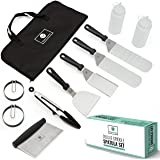 Professional Stainless Steel Griddle Cooking Kit - Grill Spatula Tongs Bottle Egg Ring Flipper Scrapper Carrying Bag - Campin