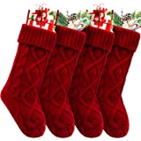 HEYHOUSE Christmas Stockings, 4 Pack Personalized Christmas Stocking 18 Inches Large Cable Knitted Stocking Decorations for F