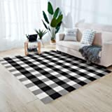 """Black and White Buffalo Plaid Rug - 47""""х71"""" Outdoor/Indoor Front Porch Check Doormat, Welcome Small Carpet Cotton Checkered D"""