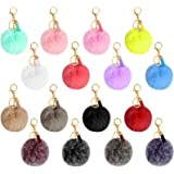 16 Pieces Pom Poms Keychain Fluffy Faux Fur Pompoms Keyring with Tassel Pendants Mixed Color Pom Pom Ball Keychains for Women