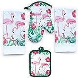 Lobyn Value Packs 4 Pack Kitchen Linens (Flamingo)