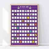 Gift Republic 100 Board Games Bucket List Poster, Maroon