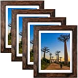 SESEAT 8x10 Picture Frames Rustic Brown with Mat Photo Frames 4 Packs for Tabletop or Wall