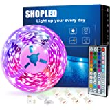 SHOPLED Led Strip Lights 5m/16.4ft Flexible Color Changing Led Lights Strip for Bedroom, 5050 RGB Led Tape Lights with RF Rem