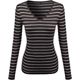 Made by Emma MBE Women's Basic V-Neck Stripe Sweater Top