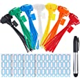 Zhanmai 140 Pieces Zip Ties Nylon Cable Ties Marker Ties Self-locking Cord Power Making Label Mark Tags 6 Inches Length 7 Col