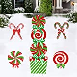"""Deloky 11 PCS Christmas Giant Candy Yard Signs-13.7""""x10.2""""x1.5 Inch Xmas Candy Cane Yard Stakes for Home Lawn Pathway Walkway"""