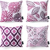 "Phantoscope Set of 4 Decorative Living Series Purple and Grey Throw Pillow Case Cushion Cover 18"" x 18"" 45cm x 45cm"