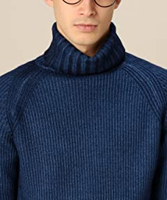 Blue Wool Rib Turtleneck Sweater 1213-105-3175: Navy