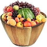 "Greenco Large Acacia Wave Rim Fruits and Salads Serving Bowl 12"" Inch Diameter"