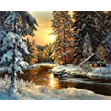 Paint by Numbers-DIY Digital Canvas Oil Painting Adults Kids Paint by Number Kits Home Decorations- Cabin in Forest 16 * 20 i