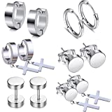 LDier Stainless Steel Earrings for Men - 6 Pairs Stainless Steel Cross Dangle Stud Earrings Hoop Earrings, Prefect for Heavy