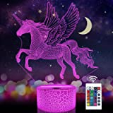 Unicorn Beside Lamp 3D Optical Illusion Night Light,16 Colors Changing Remote Control Nightlight, Unique Room Decor for Girls