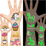 Unicorn Tattoos for Kids, Unicorn Party Favors Supplies, Kids Temporary Tattoos Unicorn Toy (glow + Metallic Glitter)