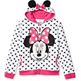 Disney Little Girls' Minnie Mouse Polka Dots Costume Hoodie with Bow and Ears, Heather Grey/Fuchsia, 6X