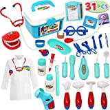 JOYIN Kids Doctor Kit 31 Pieces Pretend-n-Play Dentist Medical Kit with Electronic Stethoscope and Coat for Kids Holiday Gift