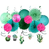Paper Jazz Cactus Swirl Lantern Fan kit Pack for Baby Shower Birthday Nursery Room Party dercoration