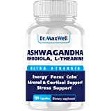 Cortisol Manager - Adrenal Support - Thyroid Support. Clinically Proven Amounts Unlike Competitors, 120 Pills. Adaptogen Stre