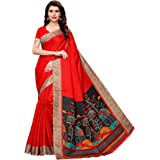CRAFTSTRIBE Indian Khadi Silk Party Wear Traditional Bollywood Printed Dress Saree Wedding Wear Sari for Women