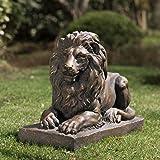 "Glitzhome GH20388 Guardian Lion Garden Statue Outdoor Sculpture Decorative, 15.25"" H"