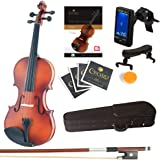 Mendini Full Size 4/4 MV300 Solid Wood Violin with Tuner Lesson Book Extra Strings Shoulder Rest Bow and Case Satin Antique F
