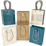 """ARTEZA Gift Bags 9.5""""x7""""x3.4"""", Set of 15pcs (3 Mixed Designs - 1 Kraft and 2 Colored, 5 pcs Each Design), Perfect for Any Hol"""
